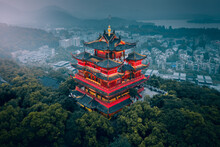 Aerial View Of Chenghuang Pavilion On Top Of The Mountain, Hangzhou, China