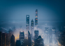 Aerial View Of Lujiazui Area Covered In Low Fog In The Morning, Shanghai, China