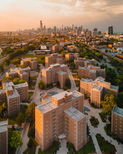 Aerial View Of Neighborhood In Chicago At Sunset, Chicago, USA