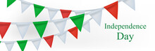 Happy Italy Independence Day Poster, Banner With Realistic Bunting Flags. Vector Illustration