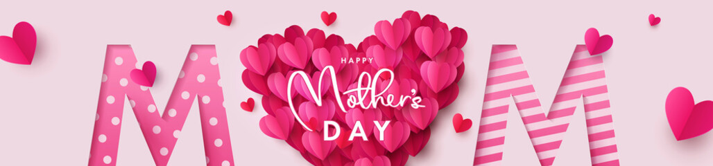 Happy Mothers Day banner. Holiday background with big heart made of pink and red Origami Hearts on soft pink background with paper cut Mom text. Design for fashion ads, poster,  header for website