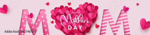Happy Mothers Day banner. Holiday background with big heart made of pink and red Origami Hearts on soft pink background with paper cut Mom text. Design for fashion ads, poster,  header for website - fototapety na wymiar