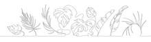 Line Art Of Palm Leaves, Abstract Tropical Decor, Palm Branch, Minimalist Flower Design. Vector Palm Artwork, Botanical Floral Print.