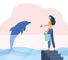 Dolphinarium Worker Feeding Dolphin. Happy Woman With Bucket Giving Fish To Sea Animal Flat Vector Illustration. Dolphinarium, Aquarium Concept For Banner, Website Design Or Landing Web Page