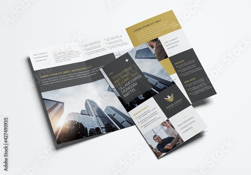 Business Brochure for Investment Consultants with Elegant Black and Gold theme Trifold
