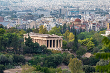 Athens, Attica, Greece. The Temple Of Hephaestus Or Hephaisteion (also Hephesteum) Is An Ancient Greek Temple Located At The Archaeological Site Of Agora Of Athens In Theseion District. Sunny Day