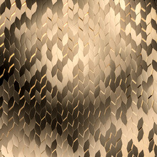 Gold Mosaic Of Repetitive Geometric Shapes.