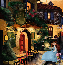 Nice Street With Atmospheric Cafes And A Cute Girl With A Bunny. Fairy Tale And Illustration.