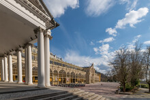 Main Colonnade And Pavilion Of Cold Mineral Water Spring - Small West Bohemian Spa Town Marianske Lazne (Marienbad) In Spring Time - Czech Republic