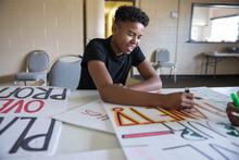 Happy Teen Boy Volunteer Coloring Environmental Poster
