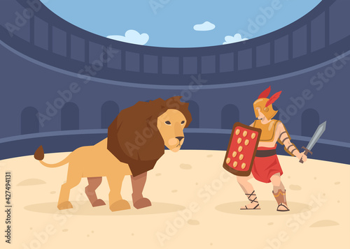 Fotomural Roman soldier with sword and shield fighting with lion