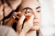 Eyebrow tint, master correction of brow hair women in beauty salon