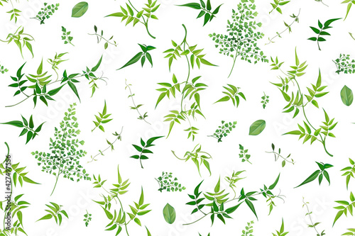 Tableau sur Toile Vector watercolor style seamless greenery leaf pattern