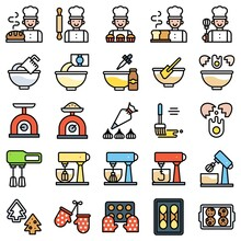 Bakery And Baking Related Filled Icon Set