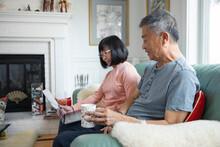 Senior Couple Using Laptop On Sofa