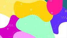 Seamless Pattern.Art Design Trendy 80s-90s Memphis Style.Creative Vector Illustration Of Children Cartoon Color Splash Background.Modern Abstract Design Poster, Pattern And Geometric Elements Design.