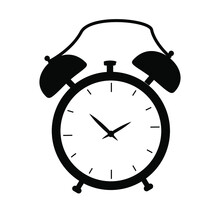 Clock Icon, Silhouette. Digital Keychain. Vector. Isolated On White Background.