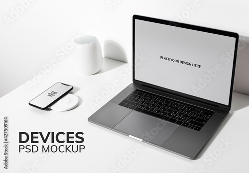 Laptop Screen Mockup on White Table