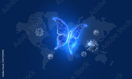 Fototapeta Transformation of butterfly in a futuristic polygonal style on a background of the world map. World crisis concept. Vector illustration of a glowing insect obraz