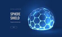 Energy Shield Geometric Hexagon Vector Illustration On A Blue Background. Geometric Translucent Shield Futuristic For Protection In An Abstract Glowing Style