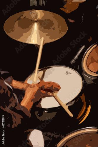 Fototapeta Ambiance musicale - Gros plan sur les mains d'un percussionniste tenant des bagu