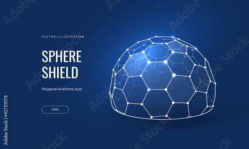 Fotografiet Dome shield geometric vector illustration on a blue background
