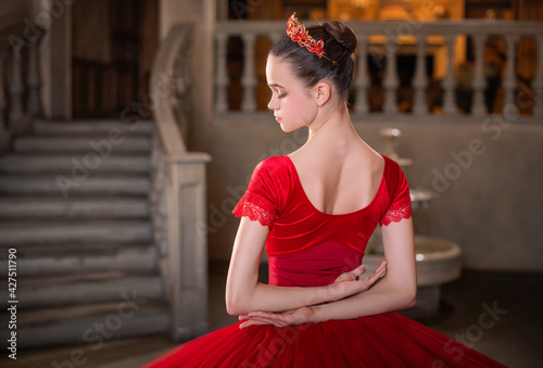 Portrait of young ballerina in a red tutu and crown from back, face turned in profile against the background of vintage interior Fototapete