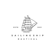 Vintage Retro Line Art Sailing Ship Logo Design