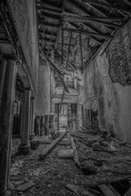 Old Abandoned Manor House Ewart Hall In North East England