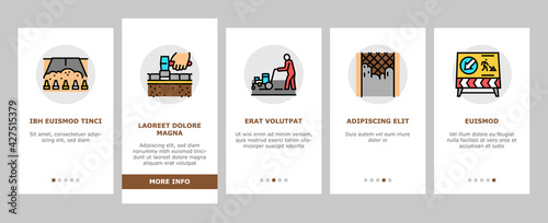 Tablou Canvas Road Construction Onboarding Mobile App Page Screen Vector