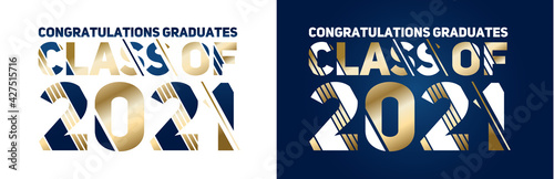Fototapeta class of 2021 vector illustration of a graduating class of 2021. graphics elements for t-shirts, and the idea for the sign or badge vector obraz