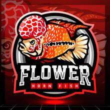 Flower Horn Fish Mascot. Esport Logo Design