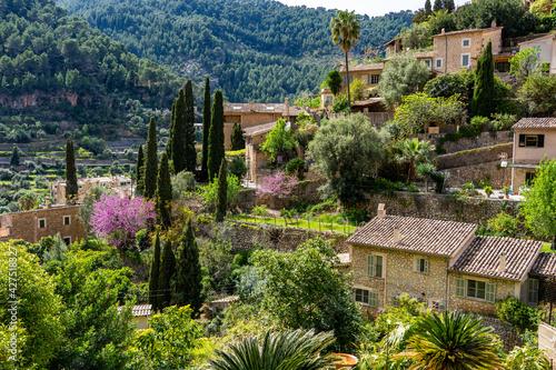 Fototapeta Schönes, ursprüngliches Mallorca - Deia pittoreskes Künstlerdorf im Nordwesten d