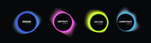 Set Of Isolated Abstract Aqua Spot With Gradient Or Dynamic Color.Vector Colorful Neon Templates. Circle Shapes With Vivid Gradients. Fluid Gradients For Banners, Abstract Liquid Shape Black, 3d.eps10