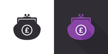 Pound Sterling Wallet Icon. Purse Icon. Wallet Icon Design Template. Vector Illustration