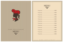 Template Restaurant Menu Design With Lady Chef