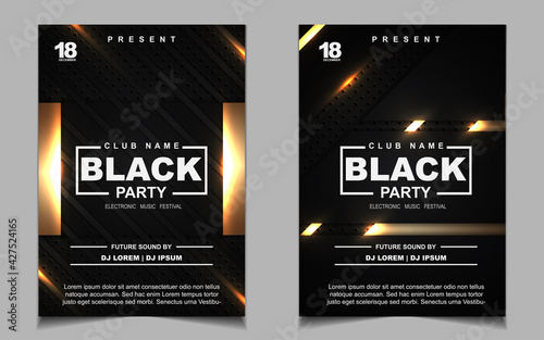 Luxury night dance party music layout cover design template background with elegant black and gold style. Light electro style vector for music event concert disco, club invitation, festival poster - fototapety na wymiar