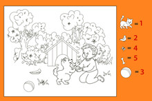 Coloring Book Boy Playing With Dog Bringing Bone. Game Find Color Object. Vector Illustration For Children, Black And White Line Art