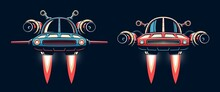 Sci-fi Spaceship Flying. Fantastic Flying Car. Vector Retro Illustration.