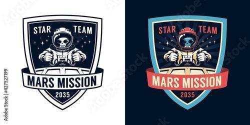 Fotografia, Obraz Astronaut retro emblem with alien pilot