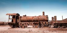 Old Rusty Steam Train Near Uyuni In Bolivia. Cemetery Trains.