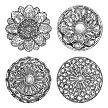 Set Of Vintage Style Floral Circular Cast Stone Design Elements. Marble Rosettes Drawing For Fashionable Pattern In Black White For Textile, Scarves, Backgrounds. Vector.
