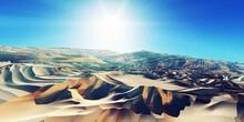 Dunes Sunset Over The Desert. 3d Rendering