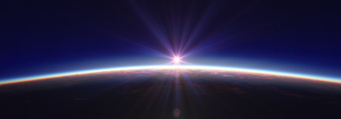 Earth sunrise from space over cloudy ocean. 3d rendering