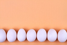 White Eggs Line And Copy Space.