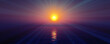 sunset sea sun ray clear sky. 3d rendering