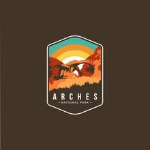 Illustration Of Arches National Park Emblem Patch Logo On Dark Background