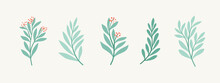 Set Of Vector Floral Elements. Hand Drawn Leaves Isolated. Botanical Illustration For Decoration, Print Design.