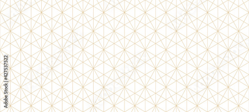 Golden lines pattern. Vector geometric seamless texture with delicate grid, thin lines, hexagons, triangles, diamonds. Abstract white and gold background. Art deco style ornament. Repeat geo design