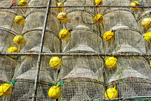 Cages To Catch Seafood Stacked In The Port